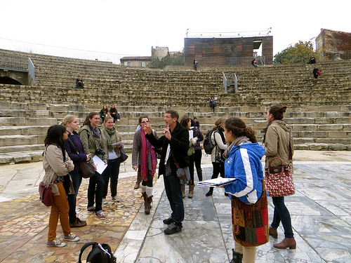 Prof. Durand with students in Arles, France