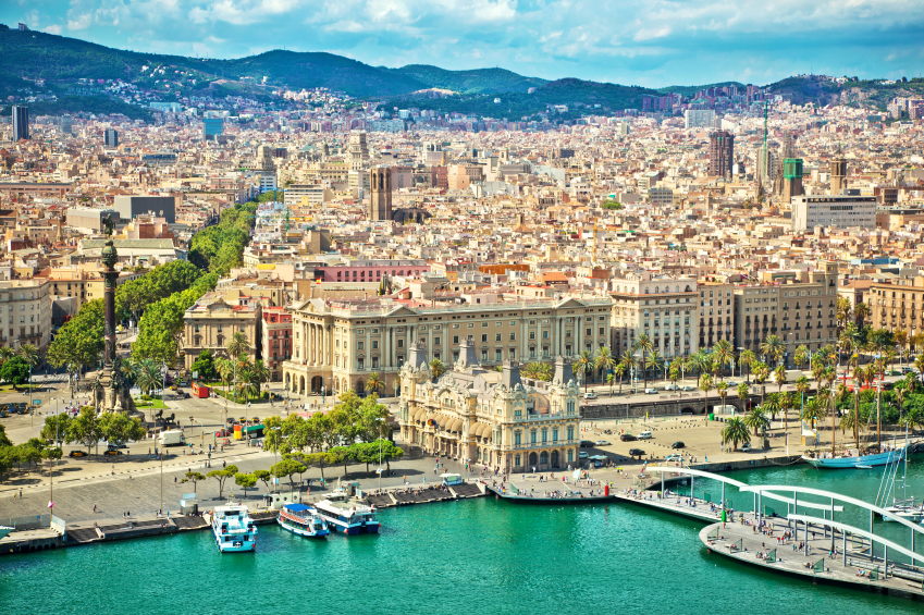 View of the Port of Barcelona, Spain