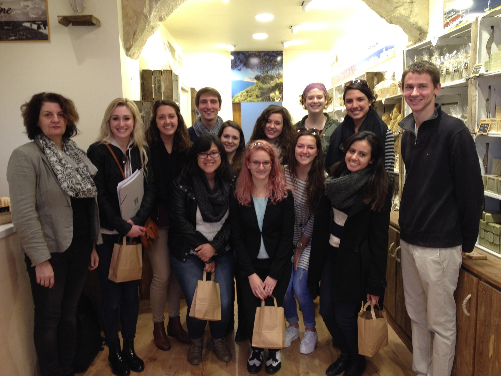 Students visit an internship placement with Professor Pascale Schaaf